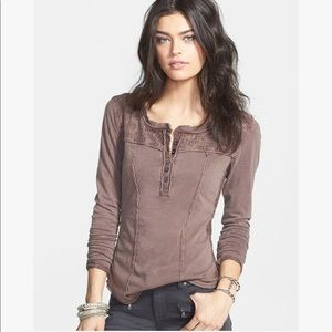 Free People FP Mocha Gold Coast Brown Henley Top